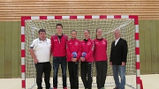 vlnr. Stefan Beckedorf, Jannes Süchting, Liv Süchting, Paula Clasen, Carla Clasen, Hans-Georg Kanning